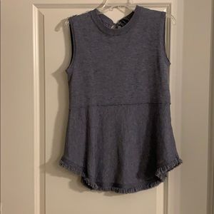 Gray Sleeveless Sweater Top